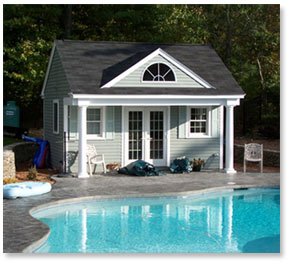 Farmhouse plans pool house plans for Pool house plans with bathroom